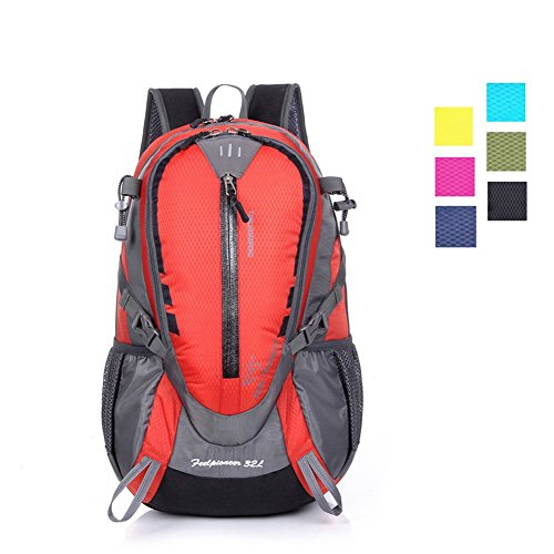 Day Hiking Backpack for Men Women Youth, ZCL 25L Cycling Commuter Daypack with Chest Strap and Waist Strap, Carry-On, Camping Climbing Trekking, Lightweight, Water-Resistant Red
