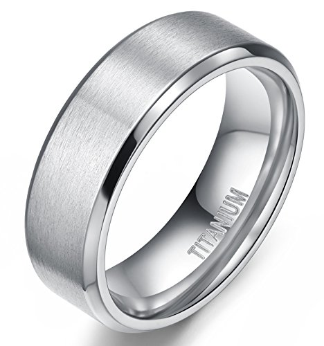 Titanium Polished Finish - 8MM Men's Titanium Ring Wedding Band with Flat Brushed Top and Polished Finish Edges(9.5)