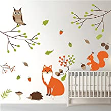 Woodland Animals Wall Sticker Set Fox owl Wall Decal Kids Bedroom Home Decor available in 8 Sizes Small Digital