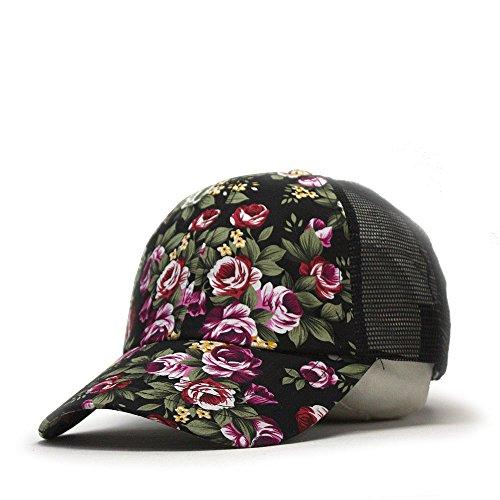Premium Floral Hawaiian Cotton Twill Adjustable Snapback Baseball Caps (Rose/Rose/Black Mesh)