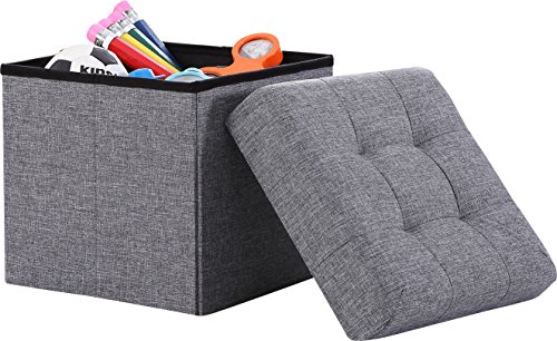 Ornavo Home Foldable Tufted Linen Storage Ottoman Square Cube Foot Rest Stool/Seat – 15″ x 15″ x 15″ (Grey)