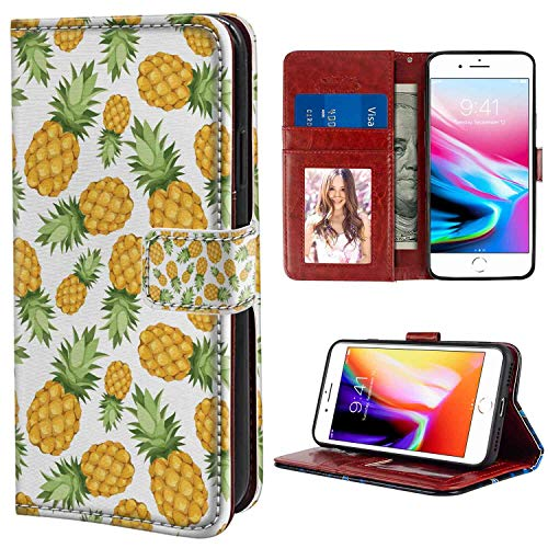 (iPhone 8 Plus (2017), iPhone 7 Plus (2016) 5.5 Inch Leather Wallet Case Yellow and White Pineapples Tropical Climate Fruits Sweet Ripe Juicy Food Earth Yellow Green White Print with Card Holder Case)