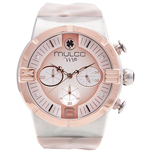 Mulco M10 Dome Ladies Collection Watch - Premium Analog Display - Beige 100% Silicone Band - Rose Gold Accents - Water Resistant - Stainless Steel -Women's Fashion MW5-3685-113
