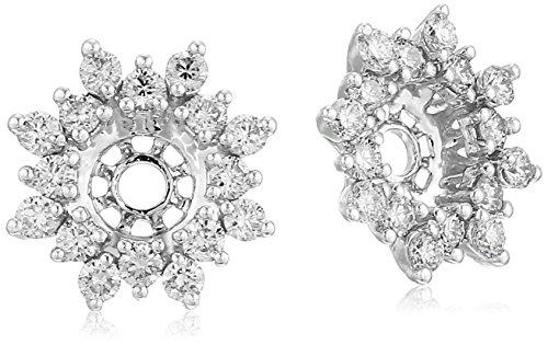 14k White Gold Diamond Starburst Earrings Jackets (1/2 ct...