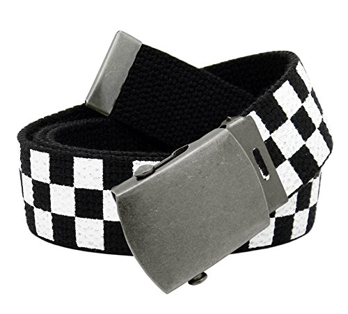 (Women's Antique Silver Slider Belt Buckle with Canvas Web Belt Small Checkered)