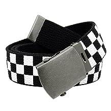 Men's Antique Silver Slider Military Belt Buckle with Canvas Web Belt