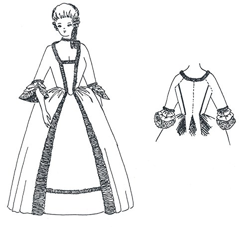 1770's Gentry Gown with Back Pleat Pattern (Size Small 32-38