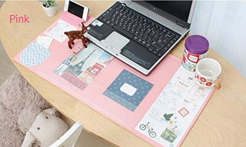 Large Size Mouse Pad Anti-slip Desk Mouse Mat Waterproof Desk Protector Mat with Phone Stand, Note Pad, Pockets, Dividing Rule, Calendar and Pen Holder (Pink) by JYDA (Image #4)