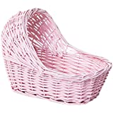 """Willow Cradle Baby Shower Girl Basket In Pink - 11.5"""" L x 6"""" W x 6.5"""" H"""
