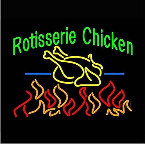 Rotisserie Chicken Neon Sign, 31(w) x 24(h) inch Neon Lights made with Real Glass Tube, Beautiful Decoration as Bar Signs