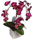 Silkenbloom Artificial Triple -Pink Silk Orchid Arrangement in Square Ceramic Pot Phalaenopsis