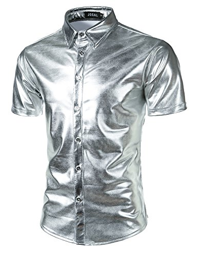 JOGAL Mens Metallic Silver Nightclub Styles Long Sleeves Button Down Dress Shirts (US XXL(Label 3XL), 316_Silver)