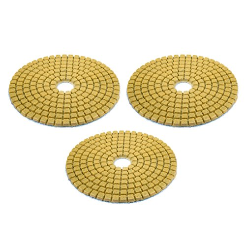 uxcell Diamond Polishing Sanding Grinding Pads Discs 4 Inch Grit 50 3 Pcs for Granite Concrete Stone Marble ()