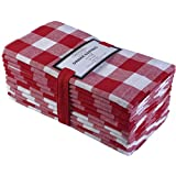 12 Pack Gingham Checks Cloth Oversized Dinner Napkins, Red-White 20x20, 100% Cotton, Tailored with Mitered Corners and a Generous Hem - Machine Washable