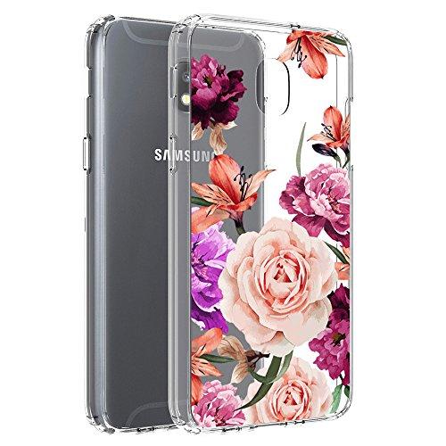 Samsung Galaxy J3 2018/J3 Orbit/J3 Achieve/J3 Express Prime/J3 Prime 2/J3 Emerge 2018/Amp Prime 3/J3 Eclipse 2/Sol 3/J3 Aura/J3 Star Case, Vinve [Crystal Clear] Shockproof Cover Case (Flower)