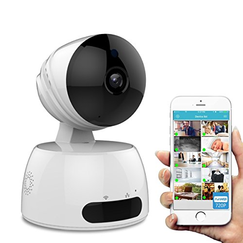 Security Camera, URJD WIFI IP Camera, 720p Dome Camera,Wireless HD Home Security Camera System with Night Vision, Remote Control Cloud Service Available for iOS, Android App