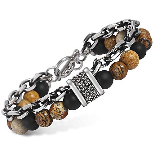 - Trendsmax Natural Picture Stone Beaded Bracelet for Men Boys Gunmetal Stainless Steel Rolo Cable Link Chain Bracelet 9inch