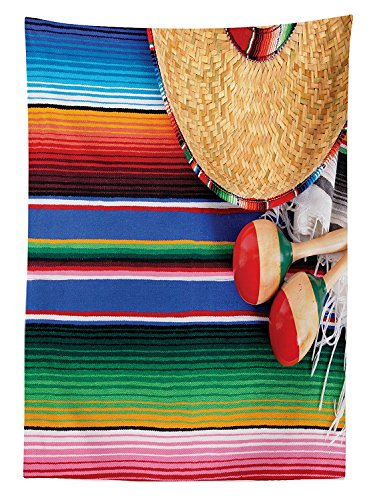 Mexican Decorations Tablecloth Mexican Artwork with Sombrero Straw Hat Maracas Serape Blanket Rug Dining Room Kitchen Rectangular Table (Virginia Soccer Ball Rug)