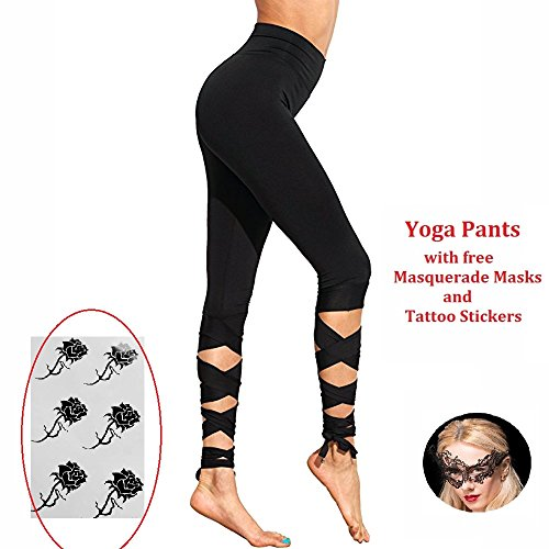 pear1 Women Sports Fitness Trousers Workout High Waist Capris Wrapped Yoga Pants Calf Crisscross Leggings (L, (Criss Cross Ballerina)