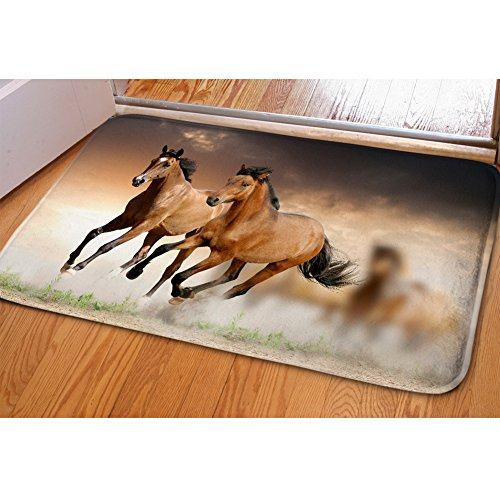 HUGS IDEA Horses Pattern Novelty Soft Thicken Doormat Kitchen Bathroon Bedroom Mat Entry Rugs Carpet