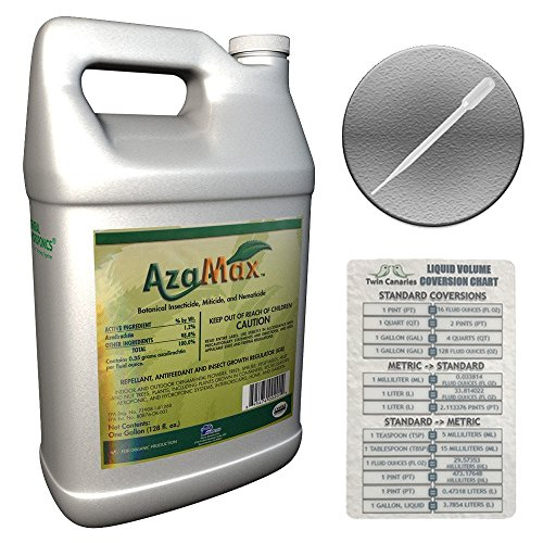 GENERAL HYDROPONICS AZAMAX HYDROPONIC PESTICIDE PEST CONTROL + Twin Canaries Chart & PIPETTE - 1 GAL GALLON by General Hydroponics