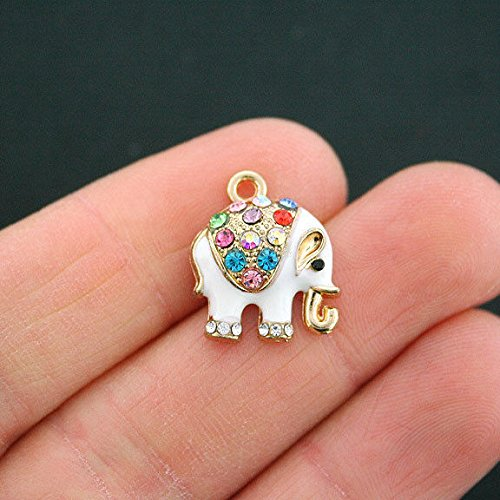 Extensive Collection of Charm 2 Elephant Charms Goldplated Enamel and Multi-Colored Rhinestones Fun E216 Express Yourself