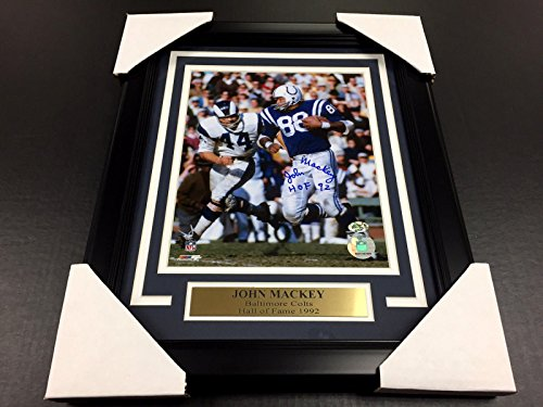 JOHN MACKEY AUTOGRAPHED SIGNED BALTIMORE COLTS 8X10 PHOTO FRAMED