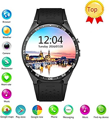 Efanr KW88 Round Bluetooth Smart Watch Unlocked Android 5.1 Wrist Phone Nano SIM 3G WiFi 2.0MP Camera Touchscreen Smartwatch Call Heart Rate Monitor ...