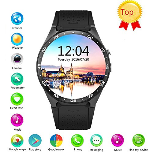 Efanr KW88 Round Bluetooth Smart Watch Unlocked Android 5.1 Wrist Phone Nano SIM 3G WiFi 2.0MP Camera Touchscreen Smartwatch Call Heart Rate Monitor Pedometer for Android Samsung iOS iPhone (Black)