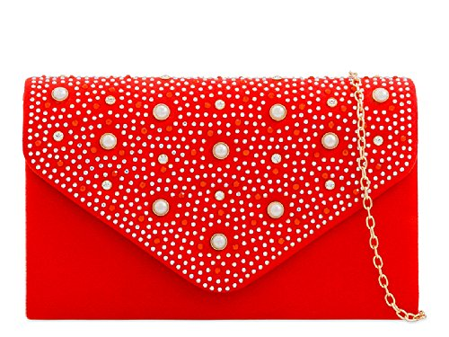 Ladies Evening Women's Bag Suede Pearl Clutch Handbag KD2293 Scarlet Bag Envelope Party Faux Purse rcUqYwHr