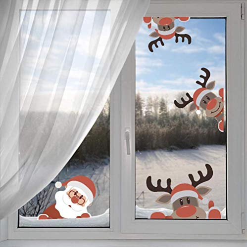 Wall Claus Santa (Arttop Reindeer Wall Decal with Santa Claus Wall Decal,Christmas Sticker for Kids Room Decor,Window Cling Decal,Christmas Party Decoration (10 pcs))