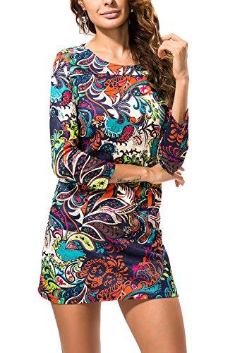 Donne è stampato a manica lunga abito Bodycon elastico