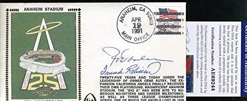 (ROD CAREW FRANK ROBINSON PSA DNA Autograph 1991 FDC Hand Signed Cache)