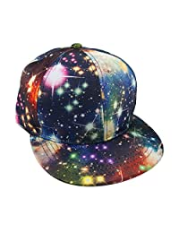 TopTie Unisex Snapback Hat/Flat Bill Baseball Cap, With Space Galaxy Printed