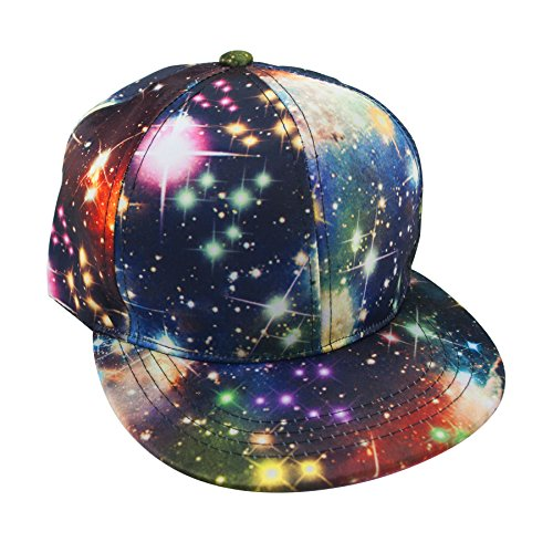 - TopTie Unisex Snapback Hat/Flat Bill Baseball Cap, with Space Galaxy Printed-Colorful