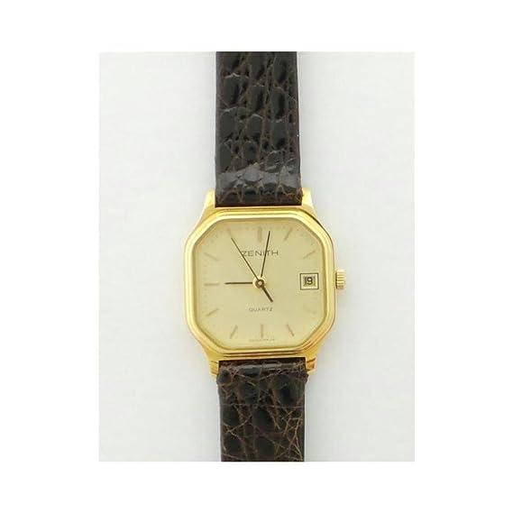 Reloj Zenith Mujer 9856 al cuarzo (batería) Oro quandrante Oro Amarillo Correa Piel: Amazon.es: Relojes