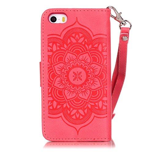 Voguecase® für iPhone SE hülle, Kunstleder Tasche PU Schutzhülle Tasche Leder Brieftasche Hülle Case Cover (Diamant/Campanula Blume/Weiß/Pink) + Gratis Universal Eingabestift