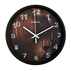 JustNile 12-Inch Silent Wall Quartz Clock with Modern & Creative Black Frame; Extreme Time Precision; Smooth Hand Non-Ticking Movement – Retro wall with wine design