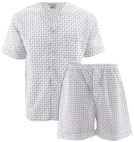 (Comfort Zone Men's White Checks Short Pajamas L)