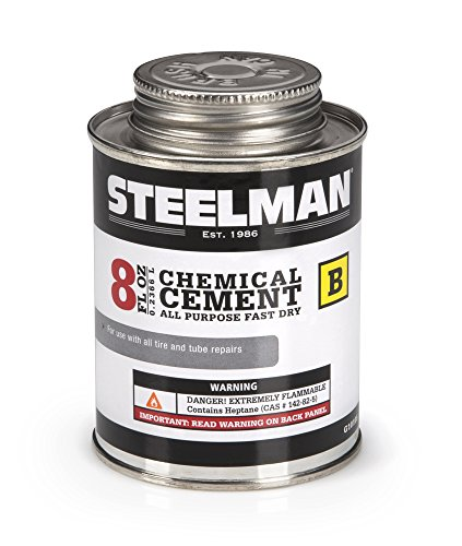 : Chemical Vulcanizing Cement for Rubber Tire and Tube Repairs - 8oz. By Steelman, Fast-Drying, Contains Vulcanization Accelerators, Suitable for Chemical or Heat Vulcanization