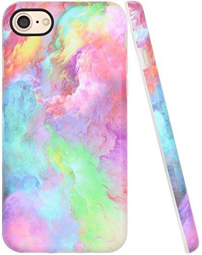iPhone 8 Case for Girls, iPhone 7 Case Pink, A-Focus Colorful Pink Blue Red Abstract Cloud Frosted Anti-Scratch Anti-Finger Shock Proof Slim Shell Cover for iPhone 7/8 4.7 - Matte Pink 4