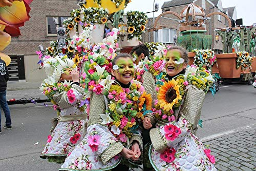Home Comforts Canvas Print Mask Parade Aalst Costume Carnival Group Vivid Imagery Stretched Canvas 32 x 24