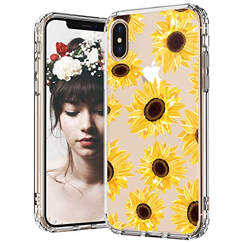 Design Hard Phone Case - MOSNOVO iPhone X Case, iPhone Xs Case, Sunflower Floral Flower Pattern Clear Design Transparent Plastic Hard Back Case with TPU Bumper Protective Case Cover for iPhone X/iPhone Xs