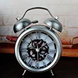 Silver 5'' Two Bells Alarm Clocks Retro Wood Color Rivet Non-ticking Silent Quartz Vintage bedside Twin Bell Table Clock Desk Clocks Desktop Clock with Nightlight and Loud Alarm by Usany