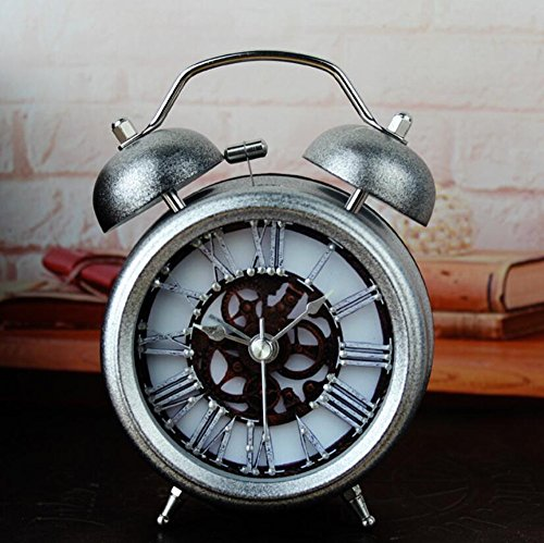 2 Bell Alarm Clock (Silver 5'' Two Bells Alarm Clocks Retro Wood Color Rivet Non-ticking Silent Quartz Vintage bedside Twin Bell Table Clock Desk Clocks Desktop Clock with Nightlight and Loud Alarm by)