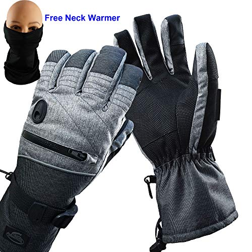 HighLoong Men Ski Snowboard Gloves Waterproof Melange Hand and Neck Warmer Set (M)