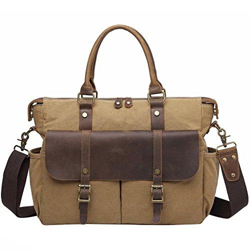 Vintage Canvas Leather Shoulder Handbags For Men, Berchirly