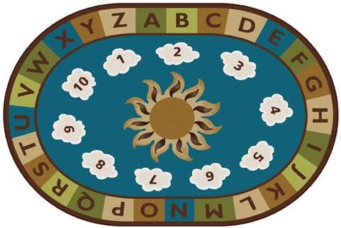Carpets for Kids 94704 Sunny Day Learn and Play Kids Oval Rug, 4 x 6 ,Multicolor