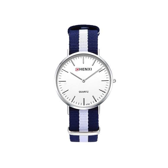 Relojes para Mujeres Unisex Hombres Impermeable Reloje para Mujer Vestir Slim Business Clásico Casuales Moda Negocios Reloj de Pulsera con Correa de Nylon: ...