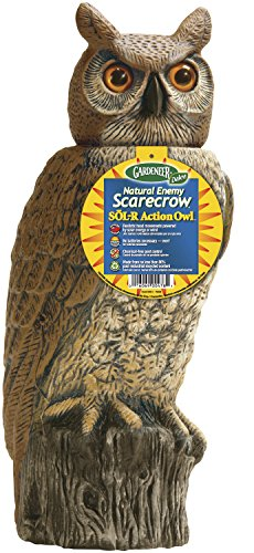 Dalen Gardeneer 100055888 Gardeneer by Dalen Solar Action Owl Natural Scarecrow Device, 18in, 18 in. in, Yellow
